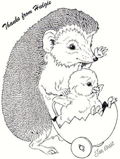 """""""Thanks for making my day"""" coloring pages by Jan Brett"""
