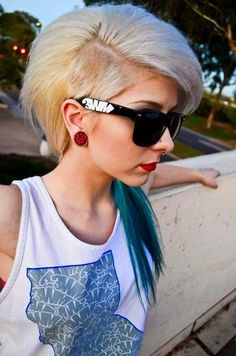 Scene hair. Shaved side. Sidecuts. Undercuts. Blue teal ponytail.