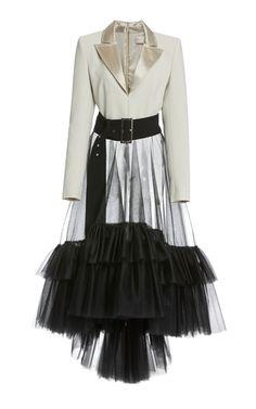 dress Fancy jackets - Ruffled Tulle Tuxedo Dress by Christian Siriano Kpop Fashion Outfits, Stage Outfits, Dress Outfits, Casual Dresses, Fashion Dresses, Prom Dresses, Wedding Dresses, Tuxedo Dress, Prom Tuxedo