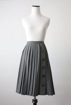 1950's grey wool pleated skirt