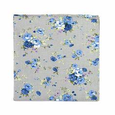 DAZI Gray Floral 1990 Cotton Pocket Square