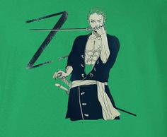 One Piece Z for Zoro Green Hair Green T-Shirt