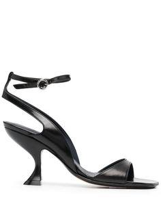 LANVIN Sandali Rita - Farfetch Lanvin, Calf Leather, Black Leather, Black Sandals, Open Toe, Ankle Strap, Kitten Heels, Women Wear, Footwear