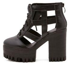 lace up fashion cut outs punk platform shoes woman summer 2014 ladies black pumps thick high heels sandals for women GL140123