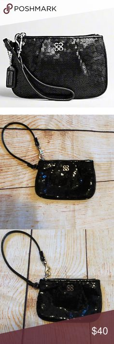 """Coach Sequin Small Black Wristlet - Like New Authentic Coach Sequin Small Black Wristlet   Patent leather trim with nickle hardware Removable Wristlet strap to convert to a clutch  Measurements approx: 6""""x 4"""" OP Clover Nickle Logo  2010 Holiday Collection  Perfect for a night out.   Like new condition please view pictures closely Coach Bags Clutches & Wristlets"""