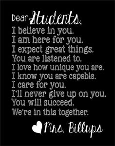 """TEACHER GIFT! Dear Students... 11x14"""" print  Customize with Teacher's name. Also can customize colors and add or swap out phrases to further personalize. So sweet!!"""
