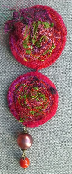 Textile PIN. Red passion feminine jewel. by VeronikB on Etsy