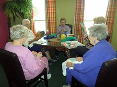 Crocheting & knitting with friends! OlanNivens, Sybal Weber, Juanita Parsonds, Lula Hawkins and Doxie Marks.