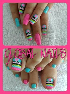 Bright Nails, Neon Nails, Pink Nails, Crazy Nails, Love Nails, Pretty Nails, Fingernail Designs, Toe Nail Designs, Finger Nail Art