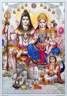 Lord Shiva And Family (Parvati, Lord Ganesha/Vinayaga and Lord Kartikeya/Muruga) 🕉 Shiva Shakti, Shiva Parvati Images, Mahakal Shiva, Shiva Art, Lord Shiva Pics, Lord Shiva Hd Images, Lord Shiva Family, Lord Ganesha Paintings, Lord Shiva Painting