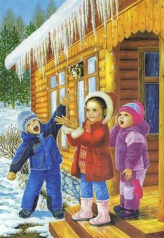 Christmas Pictures, Christmas Art, Vintage Christmas, Illustration Noel, Montessori Materials, Winter Photos, Winter Scenes, Little People, Preschool Crafts