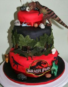 Jurassic park cake - For all your cake decorating supplies, please visit… Dinosaur Birthday Cakes, 4th Birthday Cakes, Dinosaur Cake, Birthday Ideas, Jurassic World Cake, Festa Jurassic Park, Birthday Party At Park, Birthday Parties, Movie Cakes