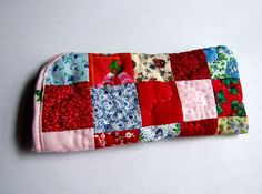 Handmade patchwork Quilted Eyeglass case by IntricateHandiwork, $7.00.  Made in America with care. A one of a kind gift.