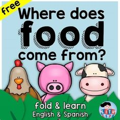 This is a science fold and learn activity that can be used in different grades… Preschool Learning Activities, Animal Activities, Teaching Kids, Free Spanish Lessons, Farm Lessons, Kids Food Crafts, Planting For Kids, Dual Language Classroom, Farm Unit