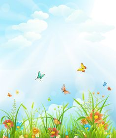 Beautiful flower with butterflies and spring background vector 02 - WeLoveSoLo Simple Background Images, Blue Sky Background, Cartoon Background, New Backgrounds, Flower Backgrounds, Boarders And Frames, Cartoon Flowers, Poster Background Design, Nature Posters