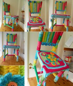 Bright Crochet Chair, sort of a yarn bomb. Art Au Crochet, Freeform Crochet, Crochet Home, Love Crochet, Yarn Bombing, Painted Chairs, Painted Furniture, Knitting Projects, Crochet Projects