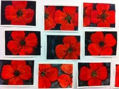 Grade Three Remembrance Day Poppies Black glue and watercolour Remembrance Day Activities, Remembrance Day Poppy, Ww1 Art, Poppy Craft, 3rd Grade Art, Grade 3, Ecole Art, Classroom Crafts, Classroom Ideas