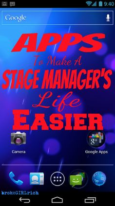 Apps to Make a Stage Manager's Life a Little Easier - brokeGIRLrich - Gadgets Theatre Geek, Theatre Stage, Musical Theatre, Theatre Group, Drama Teacher, Drama Class, Drama Education, Stage Crew, Teaching Theatre