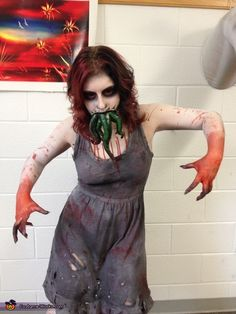Becky: This is me wearing my design for a monster in the book 'Miss Peregrine's Home for Peculiar Children'. I made the tentacles out of liquid latex, which included sculpting them,...