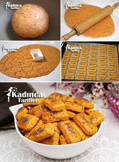 Pizza Kraker Tadında Kurabiye Tarifi Tea Time Snacks, Pepperoni, Pain, Cookie Recipes, Baby Food Recipes, Biscuits, No Gluten Diet, Appetizer Salads, Arabic Food