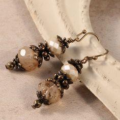 Vintage Victorian Earrings, Brass Earrings, Antique Earrings Jewelry, Pearlescent Earrings, Rutilated Quartz Gemstone Earrings