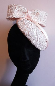 Lace covered Pillbox hat - palest peach