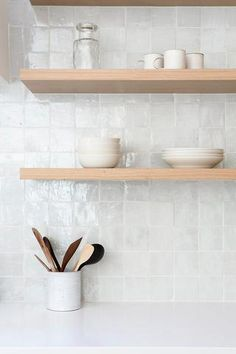 walnut floating shelves are stunning! The ba. -These walnut floating shelves are stunning! The ba. - Australian Interior Design Awards Witte zellige, handgemaakte Marokkaanse tegel, in een keuken Kitchen Wall Tiles, Room Tiles, Kitchen Shelves, Kitchen And Bath, New Kitchen, White Kitchen Backsplash, Open Shelves, Square Kitchen, Kitchen Rustic