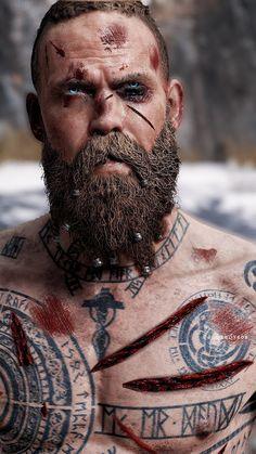 #godofwar #baldur #santamonicastudio Bald With Beard, Beard Fade, Vikings, Camo Wallpaper, The Witcher Wild Hunt, Kratos God Of War, Lion Images, Spartan Warrior, Beard Styles For Men