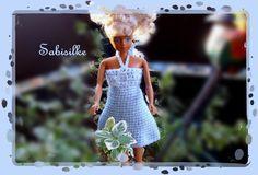 """Puppenkleidung - *** Minikleid mit Acryl-""""Kristall"""" ***  für Barbie - ein Designerstück von Sabisilke bei DaWanda"""