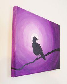 Black & Purple Raven painting by NorthBeachCrafts on Etsy, $45.00