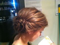 Braid upstyle by Kelsie Boyle-two fishtail braids with a side part and gathered at the back in a messy bun!