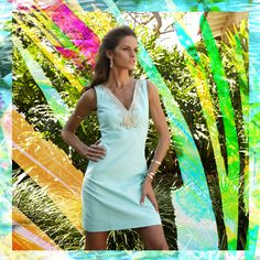 My kind of Lilly! Lilly Pulitzer Bentley V-Neck Shift Dress in Poolside Blue