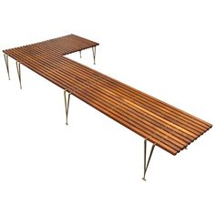For Sale on - An extremely unusual and possibly unique, L-shaped slat bench attributed to Hugh Acton. Likely a custom commission for a specific residence, as no other Craftsman Benches, L Shaped Bench, Outdoor Seating, Outdoor Decor, Entry Bench, Home Furniture, Outdoor Furniture, American Craftsman, Wood Slats