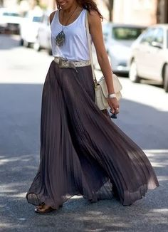 Gray pleated maxi skirt and white shirt with matching accessories