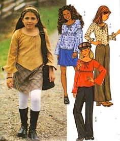 PEASANT RENAISSANCE Top Sewing Pattern - Girl's EASY Pants Skirts Tops #patterns4you