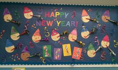 Cute New Years Bulletin Board Ideas Holiday Bulletin Boards, Kindergarten Bulletin Boards, Class Bulletin Boards, Preschool Bulletin Boards, Classroom Bulletin Boards, In Kindergarten, Preschool Activities, January Bulletin Board Ideas, Classroom Ideas