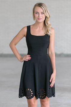 Lily Boutique Eyelet Hemline A-Line Dress in Black, $36 Black A-Line Dress, Cute Black Party Dress, Little Black Dress www.lilyboutique.com