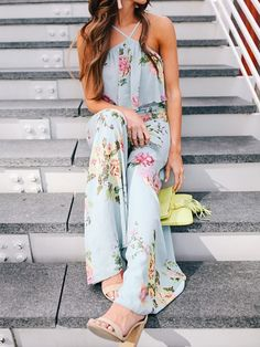 Boho Style Ruffled Strappy Wide Leg Floral Jumpsuit