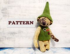 PATTERN for artist bear gnome teddy bear fully jointed 10 inches