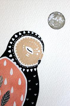 Gufo illustrazione pittura  acquerello dipinto  di RiverLuna, $40.00
