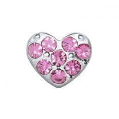 Locket bedel hartje met Swarovski steentjes roze