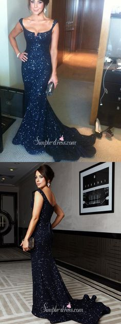 New Gorgeous Mermaid Off-shoulder Lace Navy Blue Evening/Prom Dress With Sequins