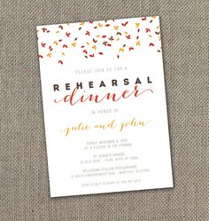 Falling Leaves  Rehearsal Dinner Invitation 5 X by EventswithGrace