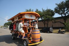 Warm up your leg muscles and join Houston's Pedal Party! You and up to 15 of your friends can rent this bad boy to go up and down the Washington Ave. and Midtown corridors.  Looks like fun to me.