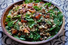 Roasted Sweet Potato, CousCous and Spinach Salad