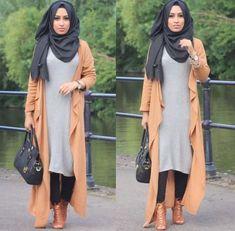long waterfall cardigan hijab- How to wear long tunic with hijab… Hajib Fashion, Abaya Fashion, Kimono Fashion, Modest Fashion, Fashion Ideas, Islamic Fashion, Muslim Fashion, Hijab Dress, Hijab Outfit