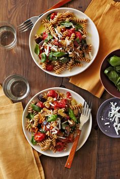 Tomato and Eggplant Fusilli  from familycircle.com  #myplate #pasta #wholewheat #veggies
