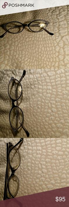 Very cute Cat Eye prescription glasses Really cute with rhinestones very light weight in great condition just need your own prescription put in only selling because frame is much too small for my face Cynthia Rowley Accessories Glasses