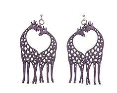 Wood Purple Earrings - Giraffe Heart - $14.25 at The Purple Store Purple Accessories, Purple Jewelry, Purple Earrings, Purple Rain, Deep Purple, Giraffe Heart, Giraffe Illustration, Nights In White Satin, All Things Purple