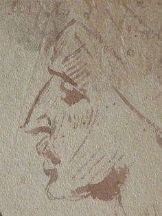 CHASSERIAU Théodore,1846 - Arabes - drawing - Détail 30 - Visage mélancolique, de profil - Melancholic face, in profil -
